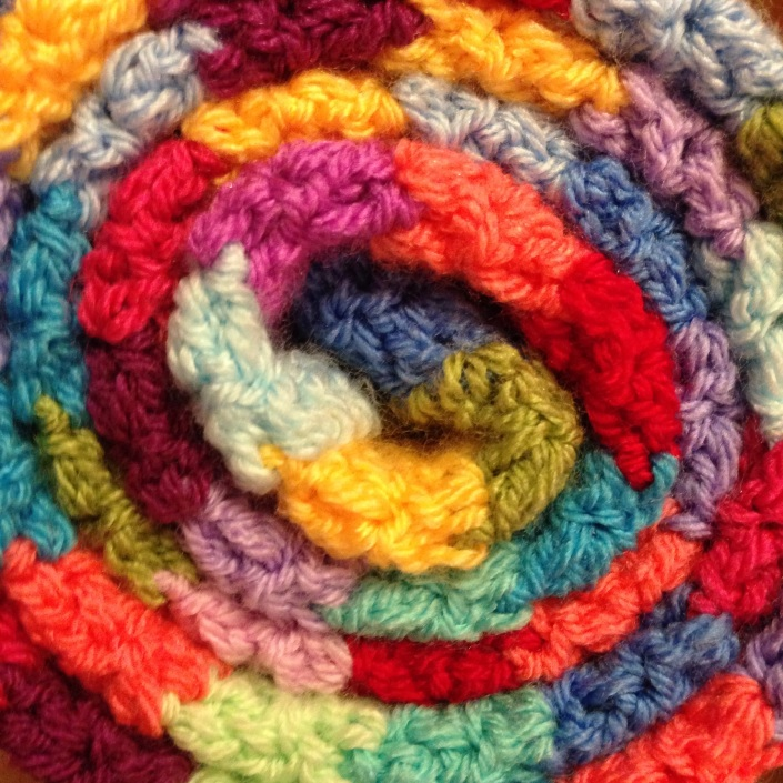 crochet blanket bright yarn